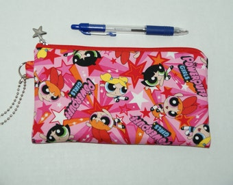 """Padded Zipper Pouch / Pencil Case / Cosmetic Bag Made with Japanese Cotton Oxford Fabric """"Powerpuff Girls - Pink"""""""