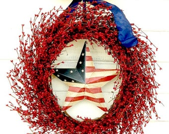 4th of July Wreath-Summer Wreath-PATRIOTIC Door Wreath-July 4th Star Wreath-Holiday Wreath-Americana Door Wreath-Military Gift-Summer Decor