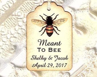 150 Meant to BEE Personalized Handmade Tags-Wedding Wish Tags-Honey jar tags-Favor tags