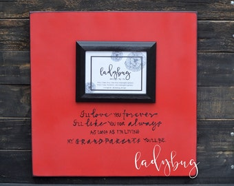 """I'll love you forever, I'll like you for always... Picture frame 18""""x18"""". Customize your own frame: parents, grandparents  by Ladybug"""