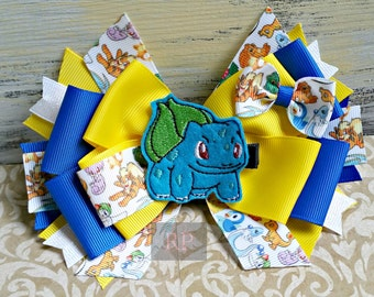 Stacked Boutique Pokemon Hairbow with Felt Clip Center - Hair Clip Hand Sewn Bow - RTS - ComicCon - Cosplay- Bulbasaur Pikachu Evee