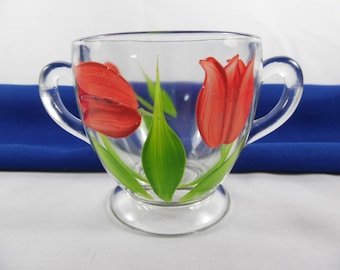 Vintage Gay Fad Red Tulip Sugar Bowl