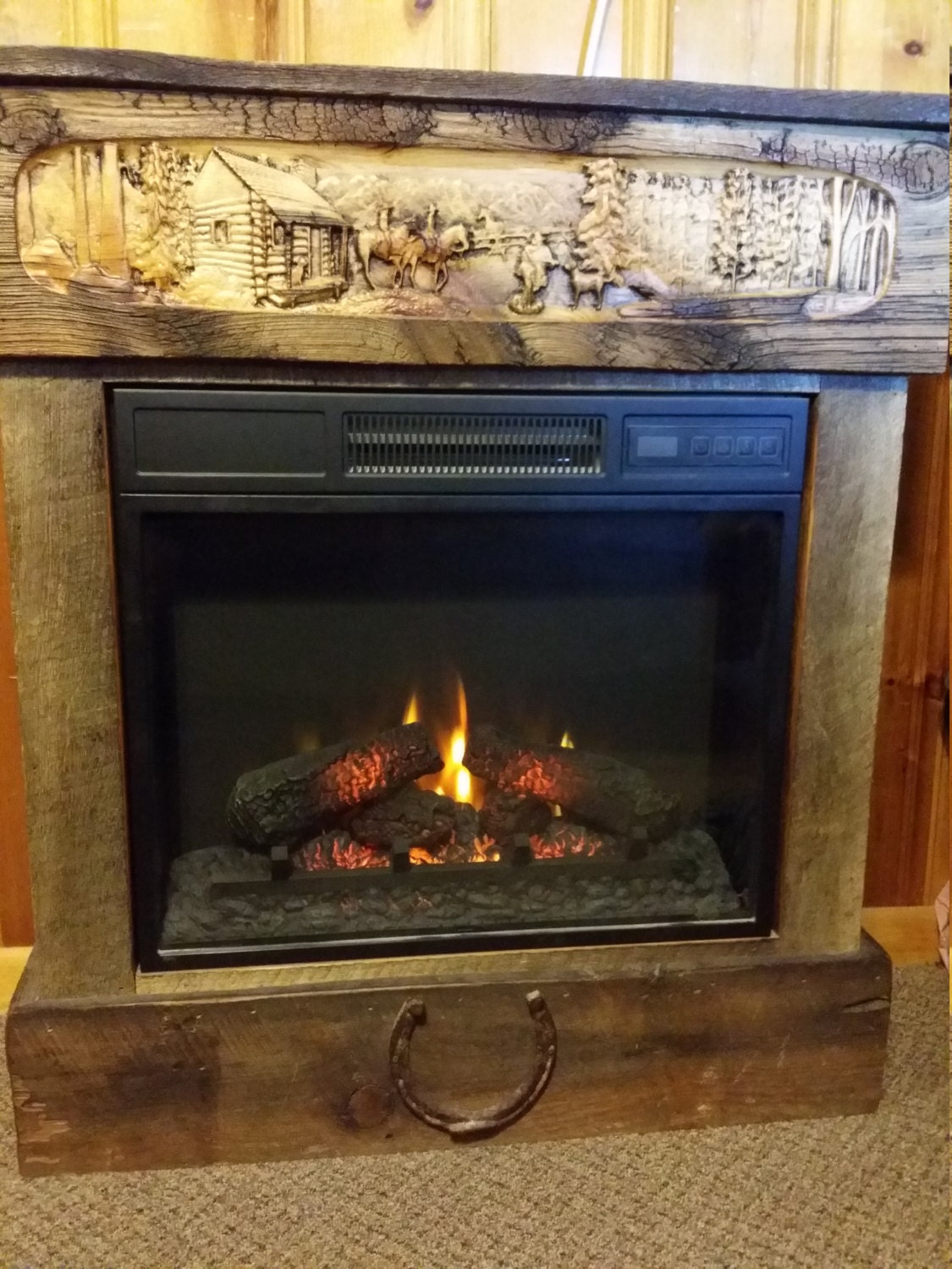 electric fireplace with barnwood surround and custom personalized