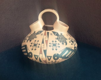 Native American Pottery Mata Ortiz Wedding Vessel Hand Crafted Painted Turtle Motif by Juana Veloz