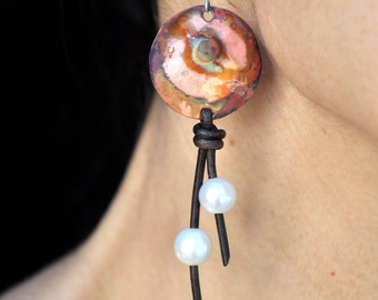 Flame Painted Copper Earrings - called Circles - with Pearls and Leather - Pearlized Pink Effect created by fire - Please READ DESCRIPTION.