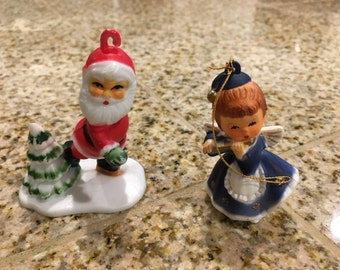 Vintage hard plastic santa   ice skater and and angel playing flute  ornament christmas