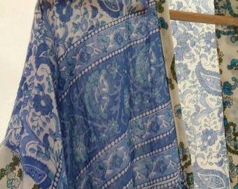 Boho Blockprint Vintage Cotton Voile Paisley Floral 1970's style Kimono/Robe