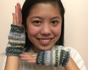 Hand warmers in Shades of Grey with a touch of Periwinkle are Hand Knit One of a Kind and Cozy too!