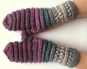 Mittens Fingerless Gloves Purple Green Blue Gray Arm Warmers Knit Soft