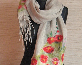Linen Scarf Natural Gray Washed Red Poppy Felted Wool