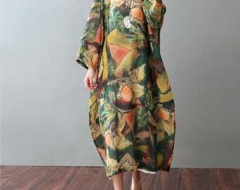 loose Overcoat linen Long dress round Collar dress