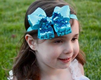 Sequin Headband - Teal Headband - Turquoise Sequin Headband