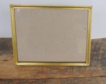 Vintage Photo Picture Frame 8 x 10 Brass Metal Bottom Load Easel Back