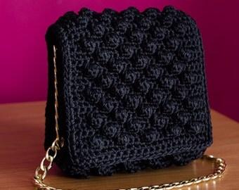 Crochet Bobble Handbag - Black Handmade Evening Bag with gold details - MADE TO ORDER