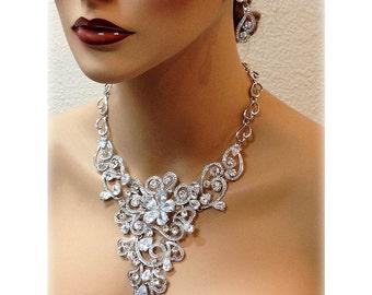 Bridal jewlery, Bridal back drop bib necklace earrings, vintage inspired Cubic Zirconia bridal necklace statement, wedding jewelry
