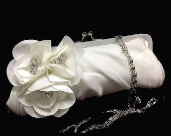 Wedding clutch, Bridal clutch, bridal evening bag, bridal evening bag, rhinestone clutch, White clutch