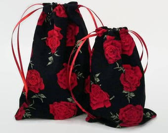 Bright Red Roses on Black Drawstring Fabric Gift Bag Upcycled, Reusable