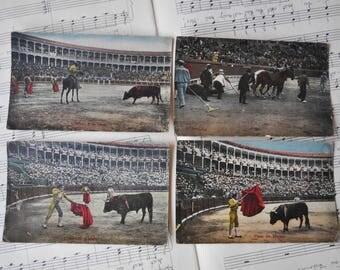 "Antique Postcards ""Bullfighting"". Lot of 4."