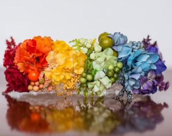 Rainbow Floral Crown - Flower Halo in Colorful Flowers - Flowergirl hairpiece - Newborn Photo Prop - Wedding Crown - Floral Hairpiece