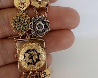 Double Row Victorian Slide bracelet, 14k gold loaded w cool stones, Rose cut diamond, Bohemian garnets, Vintage Antique Estate Charm slides