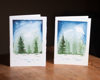 WATERCOLOR CHRISTMAS CARDS, Set of 2, each one hand painted, Christmas tree, watercolour tree