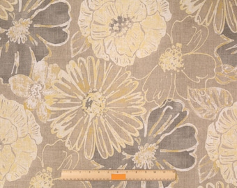 Two 20 x 20 Custom Decorative Pillow  Covers - Large Floral - Tan Gold Grey