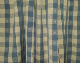 """Two 96""""L x 50""""W Custom Curtain Panels - Check Plaid with Embroidered Bees Sky - Dusty Denim Blue Ivory"""
