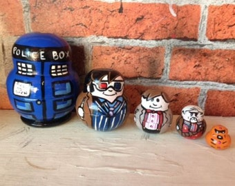 """Doctor Who 8 inch 4 piece """"day of the doctor"""" nesting dolls handmade"""