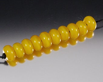 Translucent Yellow - Handmade Lampwork Glass Spacer Bead Set by That Bead Girl - SRA