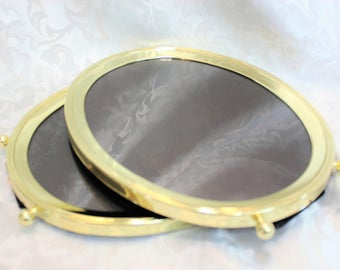 Two Large Oval Brass Picture Frames With Ball Feet