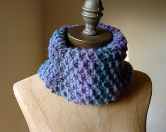 Rainy City Knitted Snood in deep blues and purples, Women's Cowl, Autumn Fashion