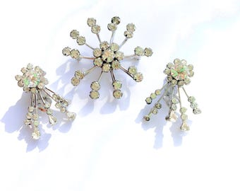Sterling Rhinestone Brooch & Earring Set Retro Glamour Fashion Bridal Jewelry