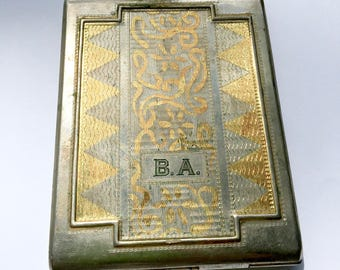 Antique Cigarette Case Circa 1929 Engraved Gold Filled Hinged Metal Case Tobacco Holder