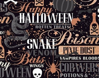 Quilting Treasures Halloween Fabricll potions & spells