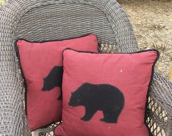 Red and black plaid bear pillow