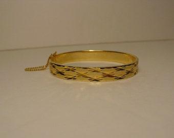 Etched Gold Tone Hinged Bangle Bracelet