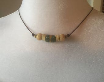 African Trade Bead & Carved Bone Tribal Bohemian Surfer Beach Earthy Unisex Adjustable Leather Necklace