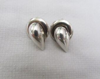 Vintage 1940's Sterling Silver Screw Back Earrings, Tear drop, Classic, Elegant