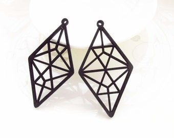Dyeing Series - 6 PCS 36x 66mm  Filigree Variety of Colors Of Triangle Wood Dangle/ Wood Charm/Pendant NM174