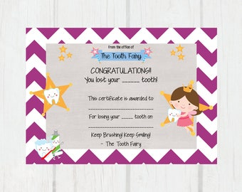 Tooth Fairy Certificate | Lost Tooth | 5x7 - INSTANT DOWNLOAD