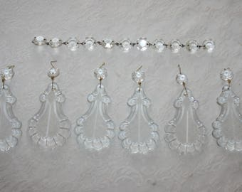Six 6 Large Vintage Chandelier Crystal Pendant Drops Charms