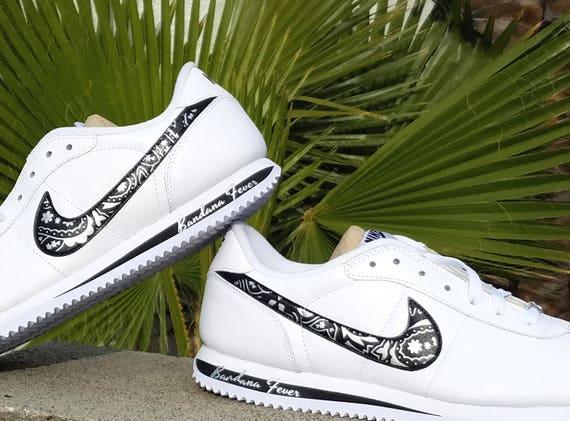 official photos 47b9b e4234 chic Custom Metallic Silver Bandana Nike Cortez Leather