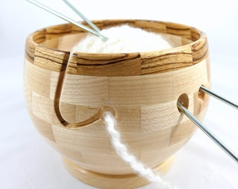 Wooden Maple Knitting Bowl As Shown In Knit Wear and Interweave Magazines, Zebrawood Rim, Lathe Turned, Segmented
