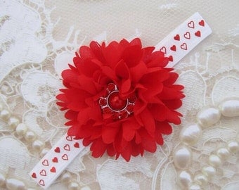 5.00 DOLLARS red flower and foil hearts elastic Valentine's Day headband, this one of a kind, foto bebe, photographer, Lil Miss Sweet Pea