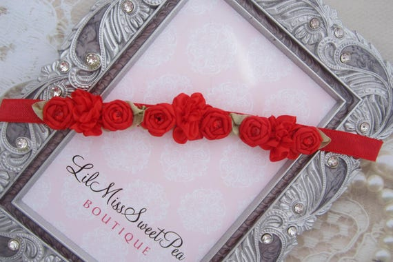 Red Mini Flower Halo Headband for newborn photo shoots, baby halo, new baby, shower gift, red floral headband, by Lil Miss Sweet Pea