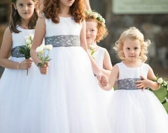 Pewter Gray Lace Wedding Sash/ Flower Girl Sash/ Handmade Accessory
