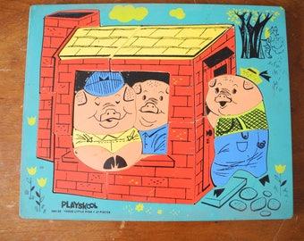 Playskool Three little pigs Jigsaw.  Wooden Jigsaw Puzzle. Nursery Jigsaw  puzzle. Nursery decor. 2 to 4 years old