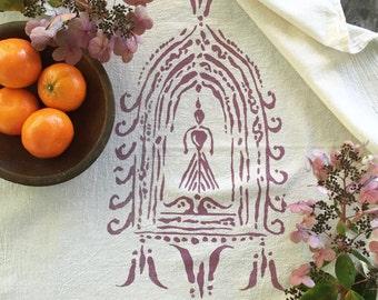 Divine Feminine Altar Towel. Gifts for Her. Natural Towel. Yoga Towel. Cotton Kitchen Towel. Goddess Print. Eco Friendly Cotton Towel