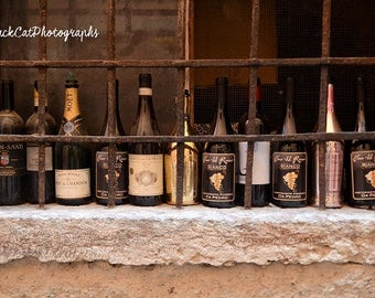 Kitchen Art Rustic Wine Food Photography Wine Bottle Photo Print Brown Pink Gold Food Rust Art Kitchen Decor Romantic Wall Art Italy Travel