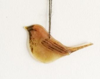 Fused Glass Bird Sparrow
